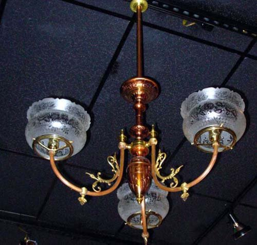 Chandelier, Gas  Rennaisance Revival