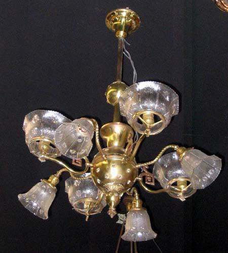 Chandelier,Gas/Elec Brass SOLD