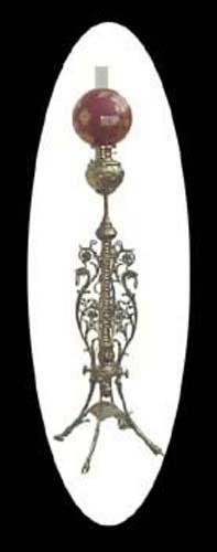 Kerosene Brass Floor Lamp with Period Ball Shade-