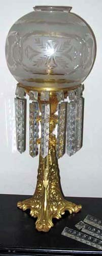 Astral Lamp with Period Cut Globe & Prisms