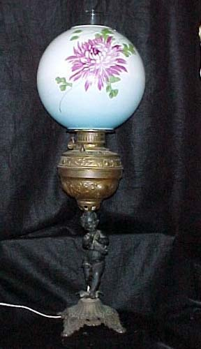 Victorian Kerosene Cherub Lamp - 27