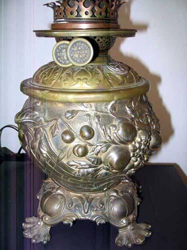 Victorian Kerosene Lamp/ Cranberry Globe