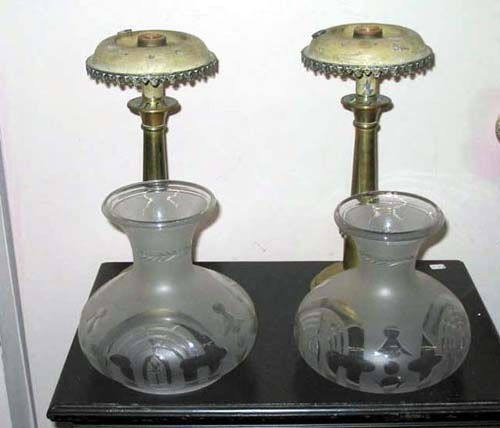 Lamps: Rare Pr of Minature Sinumbra Lamps