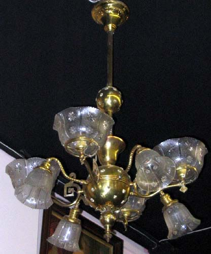 Chandelier,Gas/Elec Brass SOLD