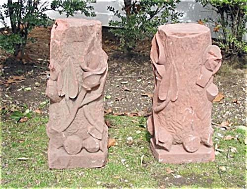 Pedestals,Antique Pr of Sandstone Pedestals