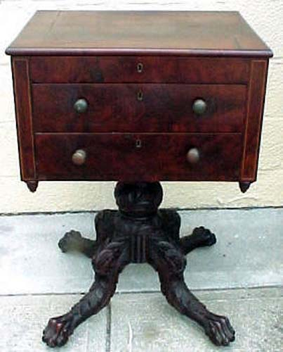Am. Empire Hairy Paw Feet table, SOLD: