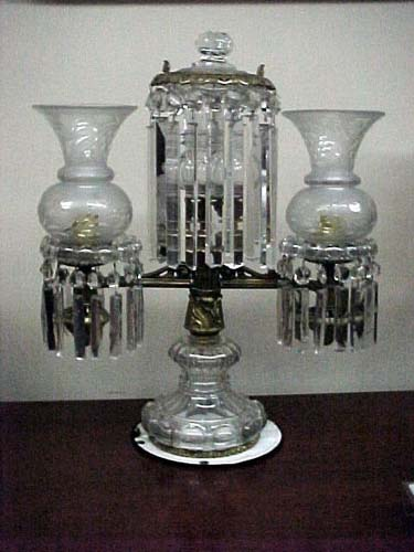 19thC Crystal Argand Lamp: