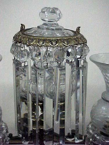 19thC Crystal Argand Lamp:
