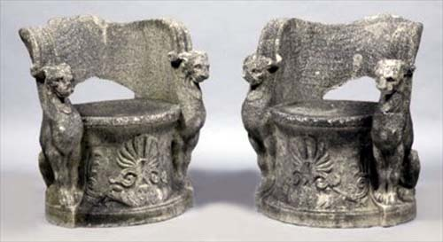 Chairs, Antique Stone carved pair