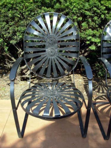 Wrought Iron Spring Chairs,- SOLD