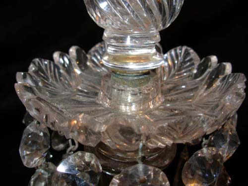19thC  Crystal Candlesticks: Pair