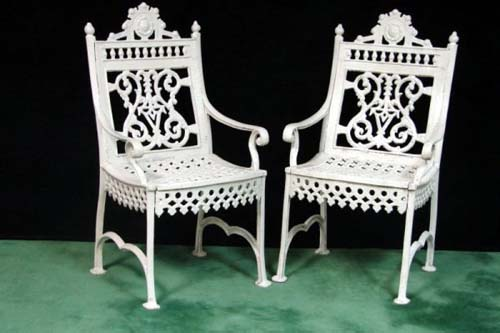 Cast Iron Pair Curtain Armchairs SOLD