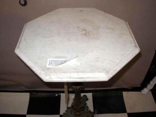 Table, Antique Victorian Cast Iron & Marble