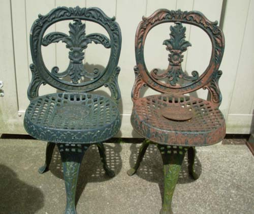 Antique Mott Cast Iron Chairs SOLD - Antique Mott Cast Iron Chairs SOLD Joan Bogart