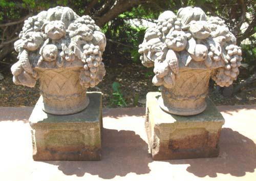 Cast stone fruit baskets pr SOLD