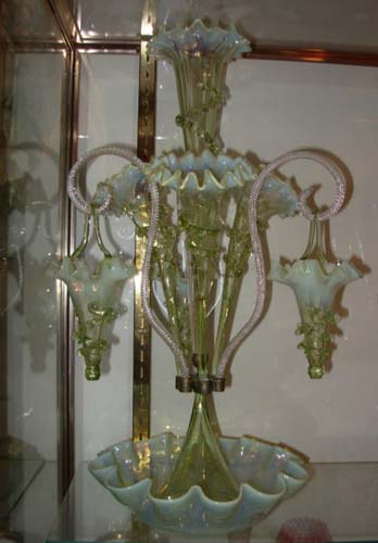 Epergne- Vaseline Glass- SOLD