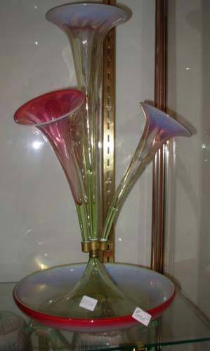 Epergne Glass With 4 Vases