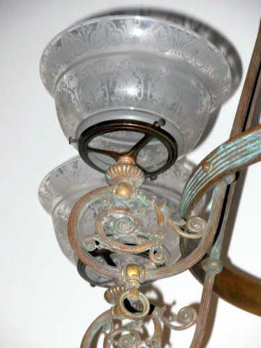 Chandelier, Gas/Kerosene. SOLD