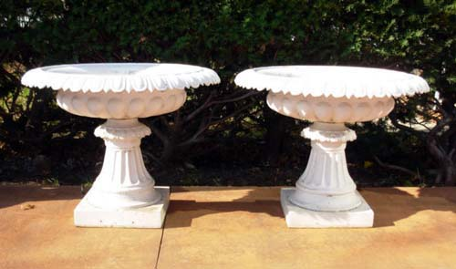 Urns,Pr of Pedestal Urns, Cast Iron SOLD