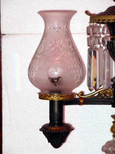Argand Lamp, Bronze & Crystal