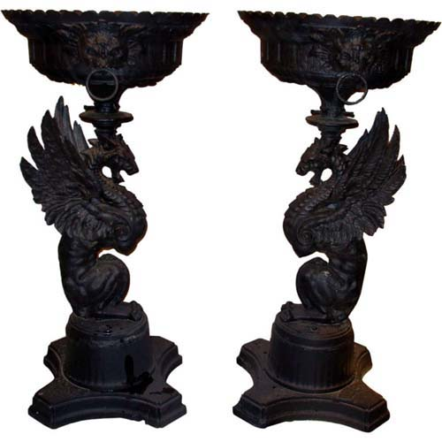 Urns.Griffins, Cast Iron, sgd SOLD