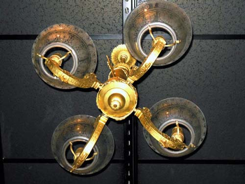 Chandelier, Gas Neo Grec with Heads