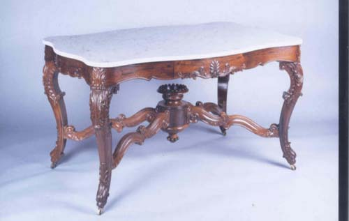 Table: Labeled Roux Rosewood Marble top  Table
