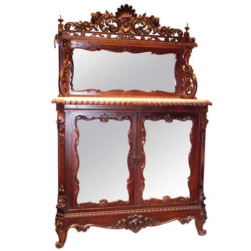 Cabinet:Victorian Rosewood Meeks Marble Top Cabine