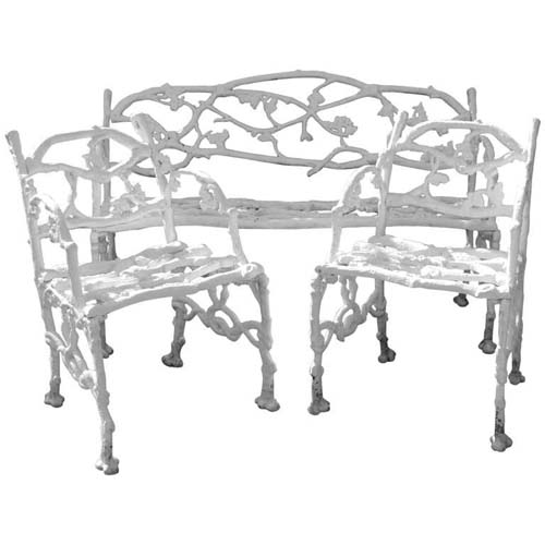 Charming Antique Garden Benches, Settees And Other Garden Decorations.