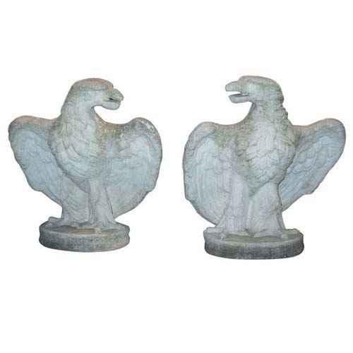 Garden Eagles of cast stone a pair