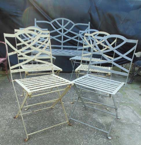 Vintage Patio Set 7pc bench & folding chairs