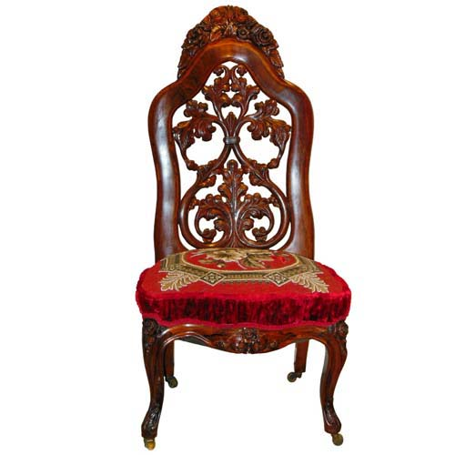 Victorian Bead Work Seat on Belter chair