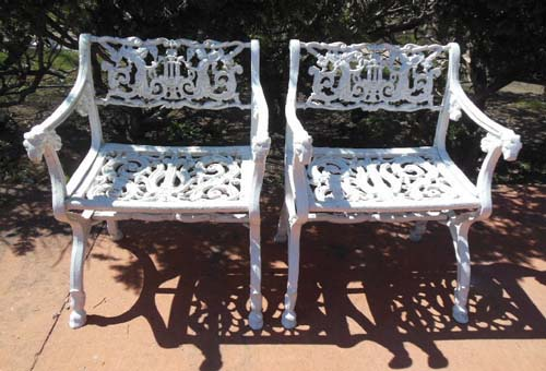 Garden Chairs, with Angels & lyres