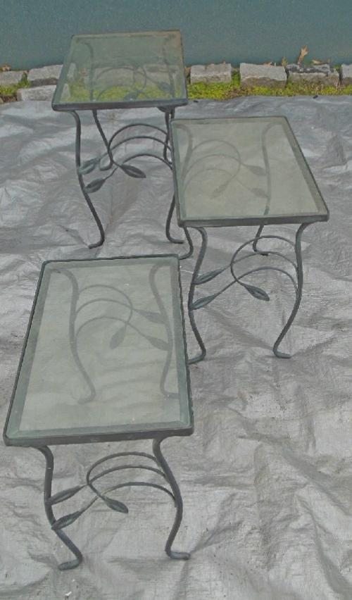 Vintage Salterini Nest of glass top tables