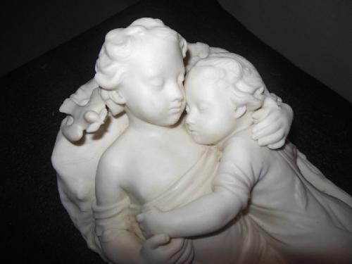 Parian Minton Figural Group of 2 children