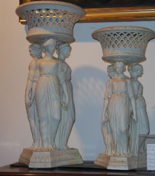 Parian Copeland Figural Compotes of the 3 Graces