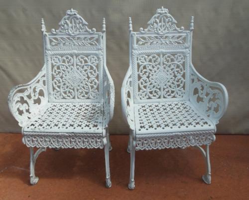 Garden Cast Iron Timmes Curtain Chairs, Pair