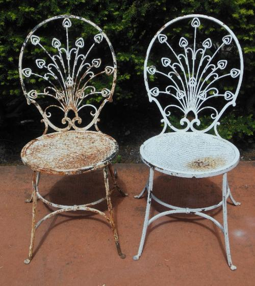 Salterini  Side chairs, mini Peacock detail