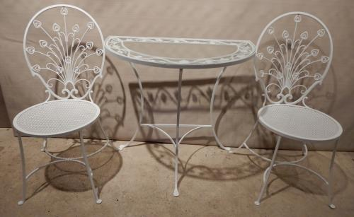 Salterini style mini Peacock chairs with console