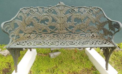 Garden Antique Cast Iron Fern Bench