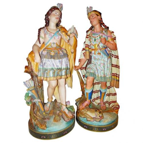 "Pr Old Paris 27"" Native American figures"