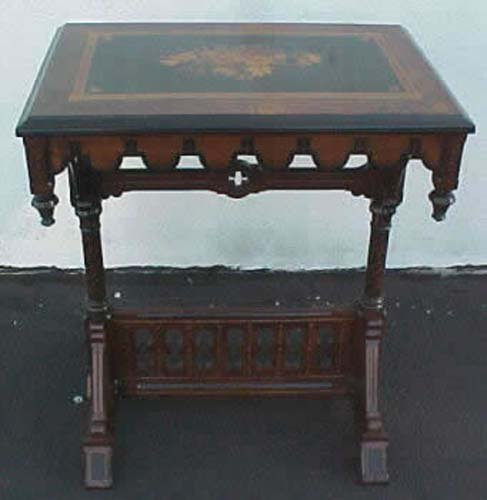 Victorian Modern Gothic Inlaid Table