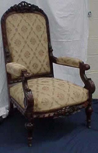 Victorian Rosewood Rococo Revival Armchair