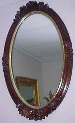 Mirror: Victorian Rose Carved Walnut