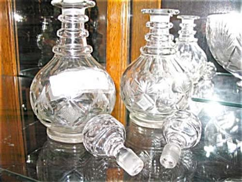 Pair of Pittsburgh Glass Decanters