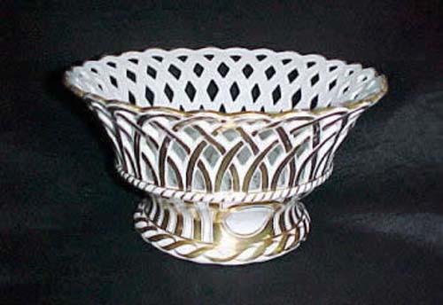 Old Paris Gold & White Pierced Basket