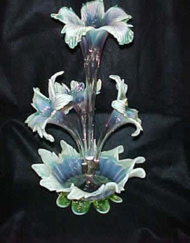 Vaseline & Pink Epergne With 4 Flowers.  SOLD