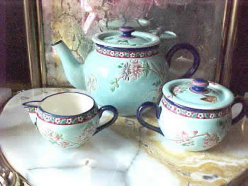Aesthetic Longwy 3Pc Tea Set. SOLD