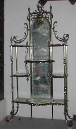 Art Nouveau Brass & Onyx Etagare,