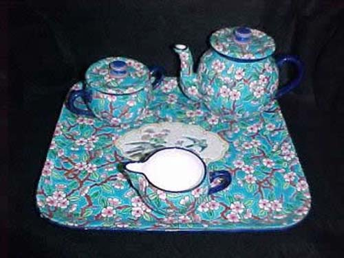 Longwy Tea Set With Tray.  SOLD